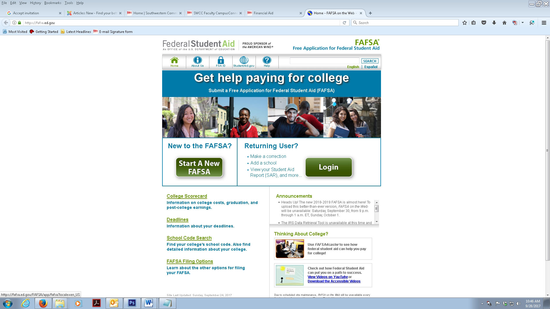 FAFSA website homescreen