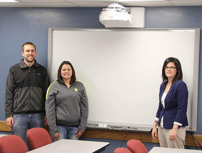 Scott Haner, Erika Blair, and Lindsay Stoaks with interactive whiteboard