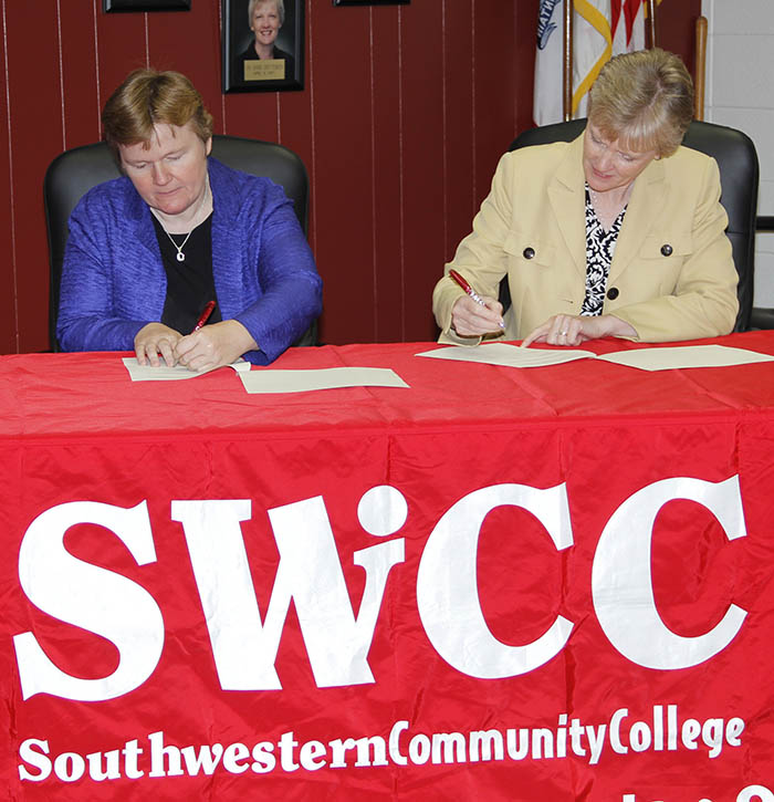 Dr. Rita Gulstad, Central Methodist University, provost, and Dr. Barb Crittenden, SWCC president