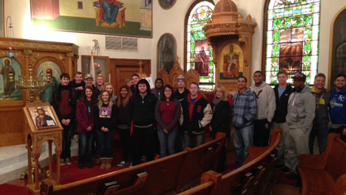 Class posing in front of St. George Orthodox