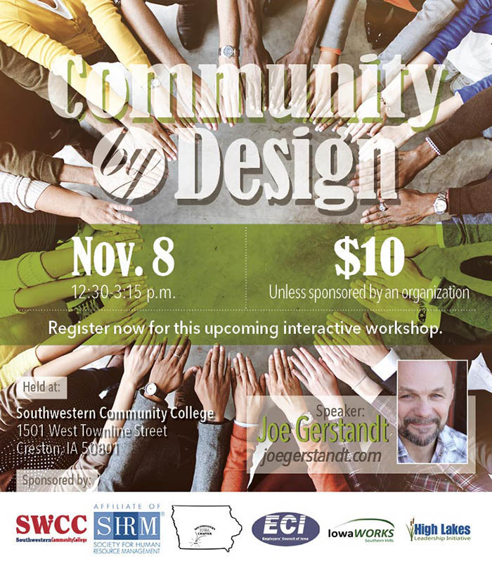 Community by Design event graphic with hands of all races