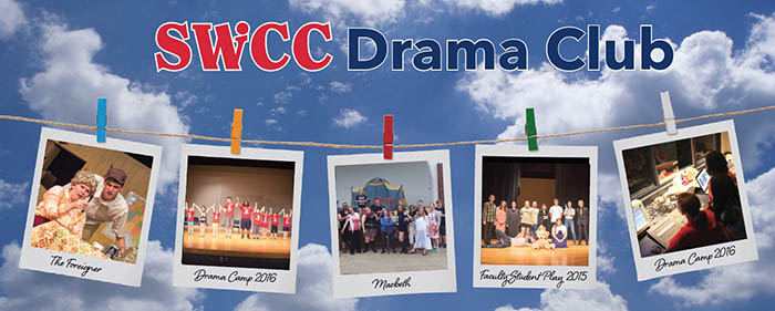 Drama Club graphic with photos from plays and camps