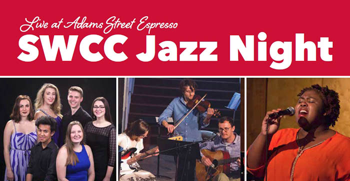Jazz Night Header with photos of students