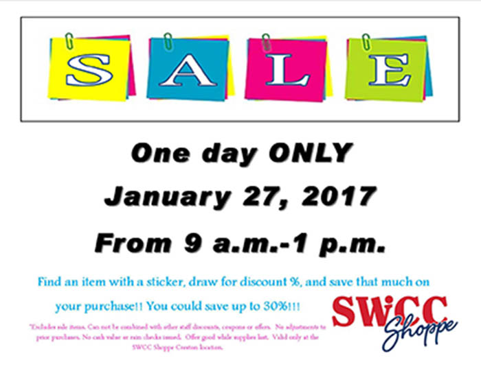 SWCC Shoppe Sticker Sale Ad