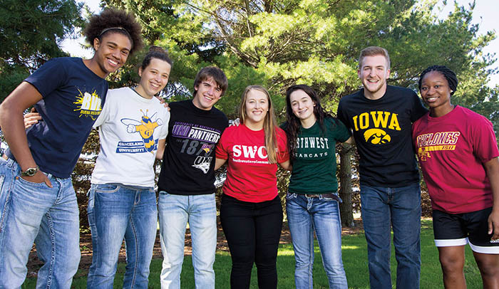 SWCC Students in transfer college T-shirts