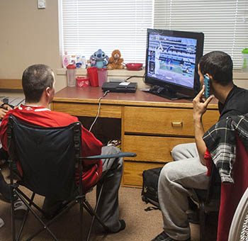 Students playing video games