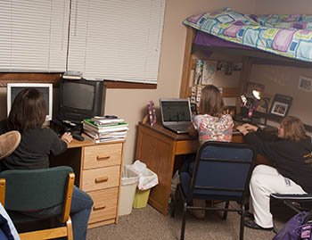 Students studying in room