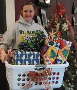 Student Senate member with gift basket