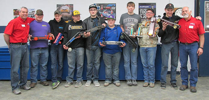 Valve Cover Car Race winners with instructors