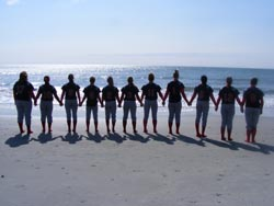 Softball Team at Beach