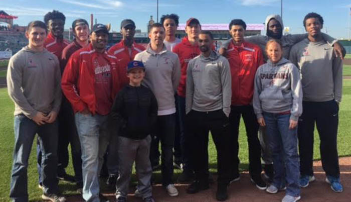 Team and coaches at I-Cubs game