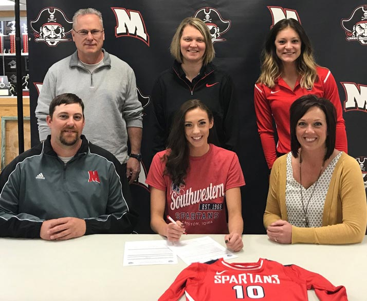 PICTURED (L to R):  Sitting – Justin Frost, Sadie's father; Sadie Frost; and Jess Frost, Sadie's mother.  Standing – John Larsen, Mount Ayr assistant volleyball coach; Tori Braby, Mount Ayr head volleyball coach; and Aleesha Cleaver, Southwestern head volleyball coach.