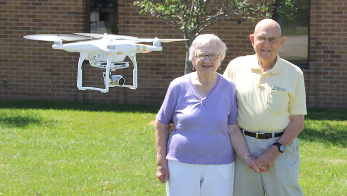 Ed and Marge Naven with drone