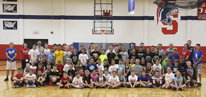 Coaches and campers at 2017 basketball camp