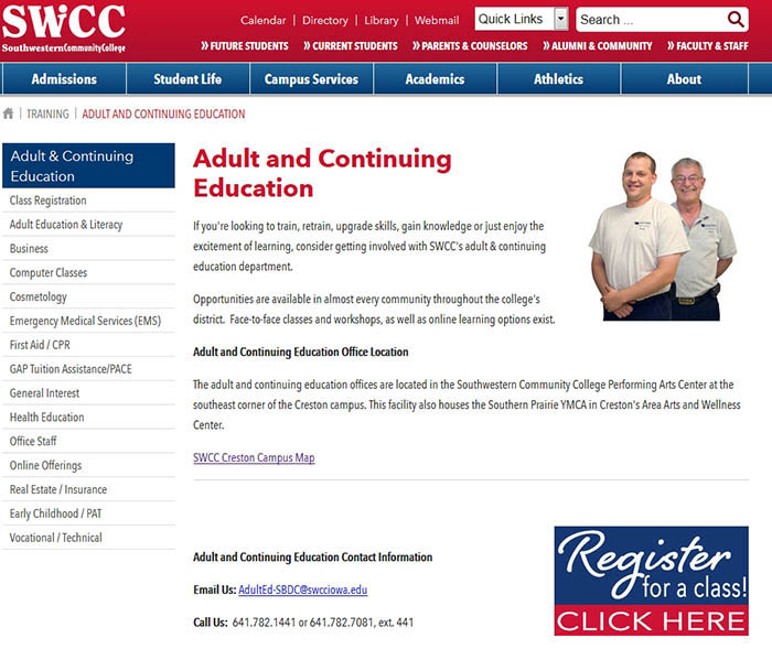 Graphic of Adult Ed Homepage
