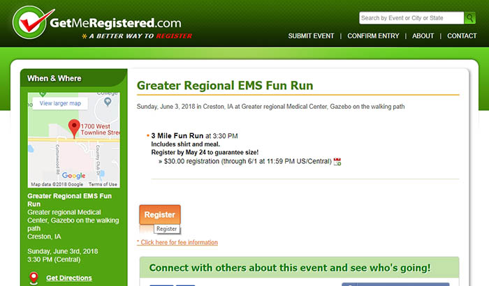 EMS Run registration page
