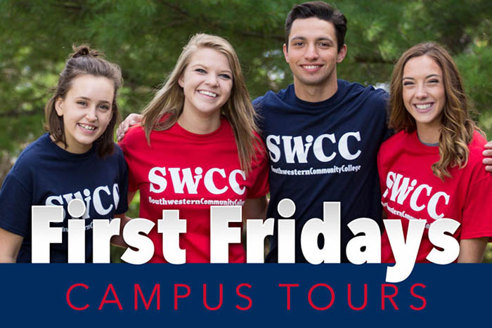 First Friday graphic with four SWCC students pictured
