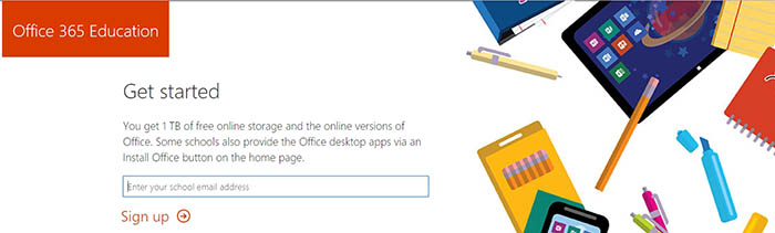Office 365 Education Webpage banner