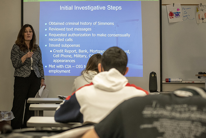 Paula Ebersole speaking to SWCC criminal justice class