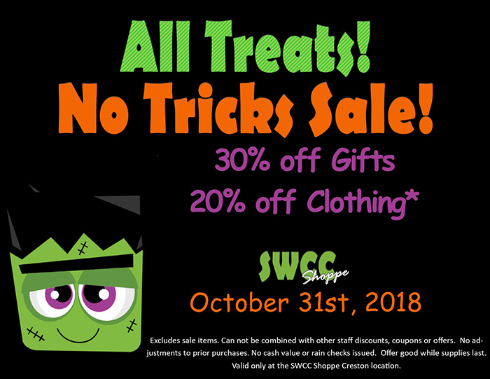 SWCC Shoppe sale ad with same details as article and small pic of Frankenstein