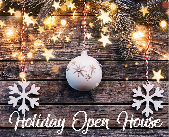 Holiday Open House graphic with lights and holiday ornaments