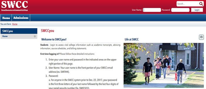 Screenshot of SWCCyou Portal homepage