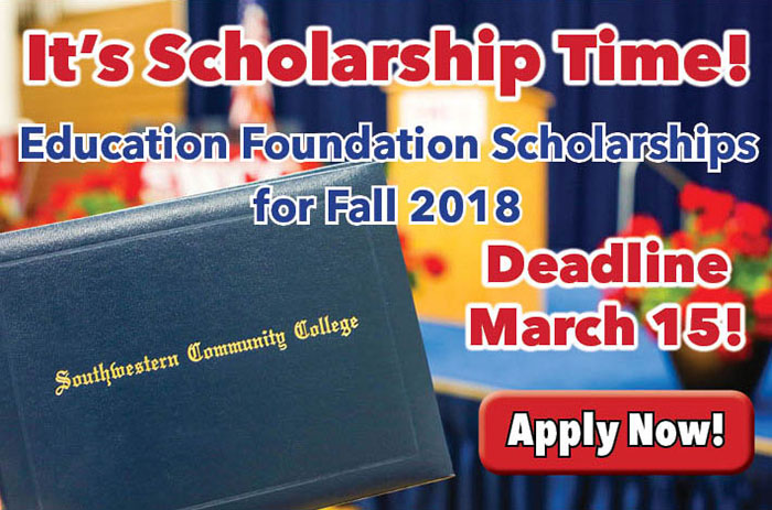 Education Foundation Scholarships for Fall 2018, Deadline March 15, Apply NOW graphic