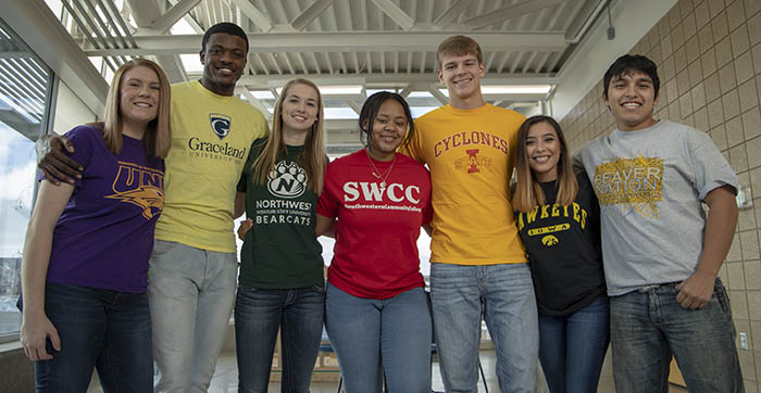 SWCC students in T-shirts from four year colleges