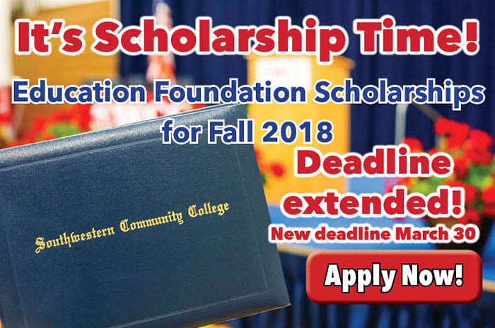 Scholarship deadline extended to March 30 graphic with graduation scene