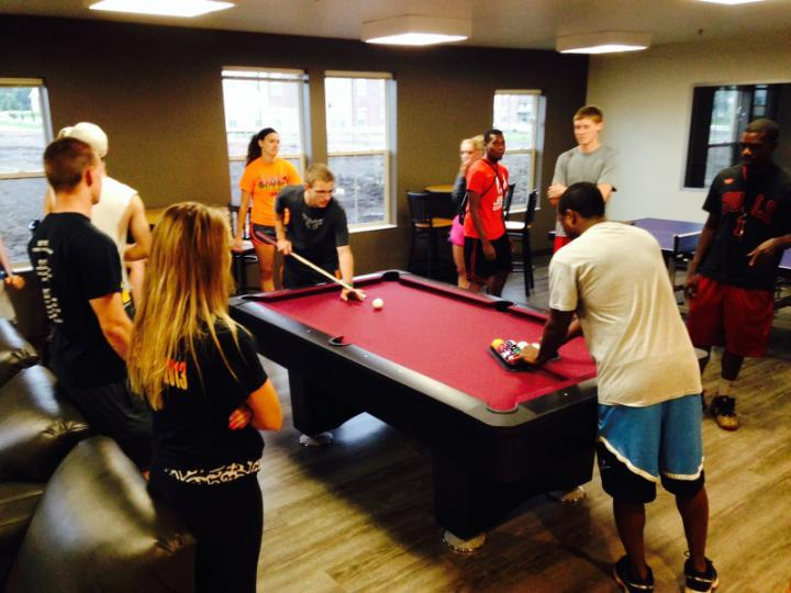 Students at pool table