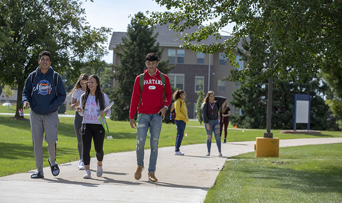 Students walking on Creston campus to class