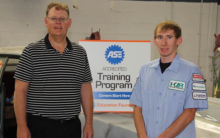 Mickey Anderson and James Bourn in SWCC collision repair lab
