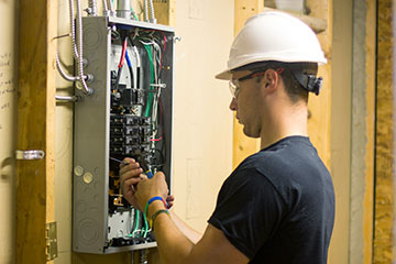 Electrical student fixing item in an electrical service panel