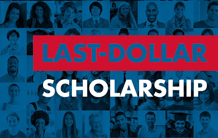 Last Dollar Scholarship graphic with student faces on it